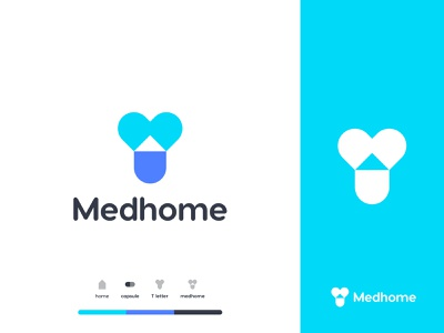 Medhome Logo Mark top logo medicare branding minimal t logo hospital doctor health pharmacy medicine logo design typogaphy mark home house medical home medical idenity icon blue