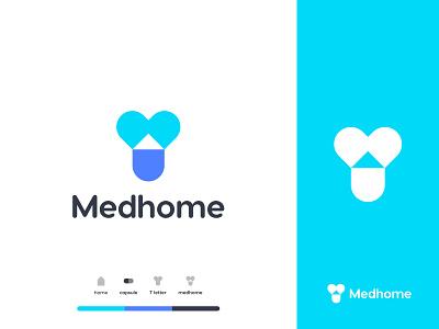 Medhome Logo Mark top logo medicare branding minimal t logo hospital doctor health pharmacy medicine logo design typogaphy mark home house medical home medical idenity icon blue