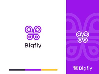 Bigfly Logo Mark flat freedom daw logo a day logotype icon b letter location butterfly ui mark branding logo simple brand identity minimalist design illustration website