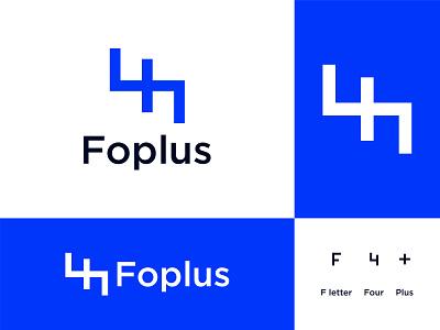 Foplus Logo Design creative app icon design logo mark cross ui illustration design simple logo minimal brand identity branding logo design health four number medical plus monogram