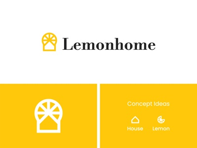 Lemonhome Logo brand branding agency visuals podcasts modern simple minimal flat logo design branding identity logo illustration logotype lemon house yellow identity design icon logo grid