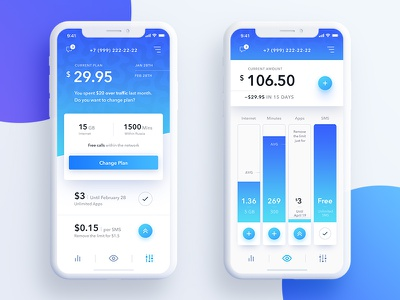 Yota - Future Plan / Overview iphone x gradient material provider operator network ux ui mobile ios plan app