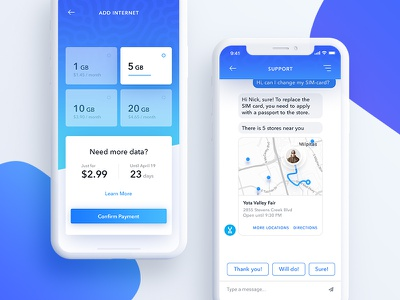 Yota Mobile Network - Add Internet / Support iphone x gradient material provider operator network ux ui mobile ios plan app