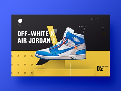 👟 The Off-White x Air Jordan 1 'UNC' - Visual Exploration web promo swiss clean yellow design landing page 3d website ui ux sneaker
