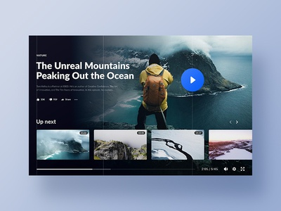 Video - Sharing website web promo youtube clean nature design landing page main page website ui ux header