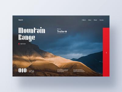 Mountain Range web promo mountain clean nature design landing page main page website ui ux header