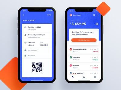 Cogni Bank Mobile Application orange qr history transaction invoice money dashboad bank ux material design clean app ios ui
