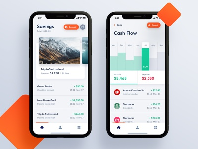 Cogni Bank Mobile Application graph trip vacation transaction expenses income dashboad history savings material interaction design clean app ux ios ui
