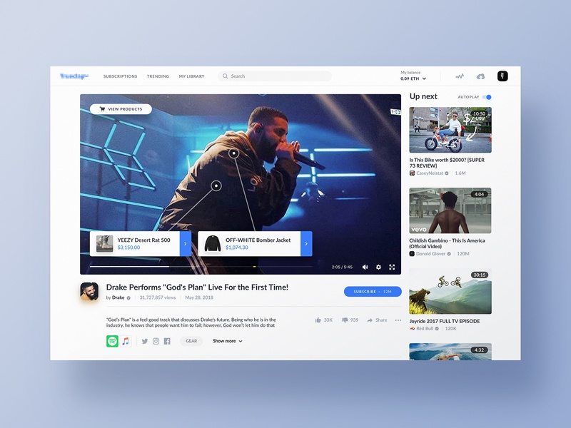 Video Player clean music play video youtube website design web ux ui