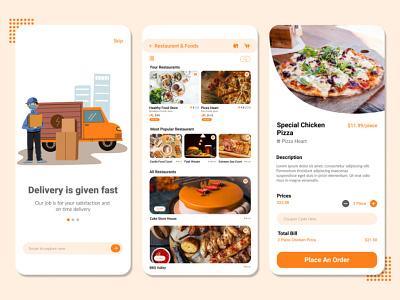 Food Delivery App Design graphic design figma design adobe xd user interface design food delivery app design mobile app design app design ui ux design ui