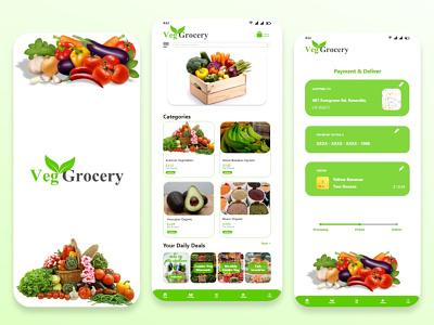 Veg-Grocery online App Design veg grocery app vegetables app design modern design online market app ios app design app deisgn grocery app design user interface design ui ux design graphic design ui