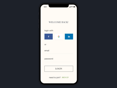 Login Screen for a Luxury and lifestyle app