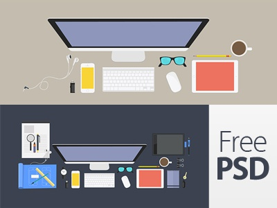Workplaces Design Free Psd  workplaces coloured workspace colour workplace tablet desk flat color office computer design