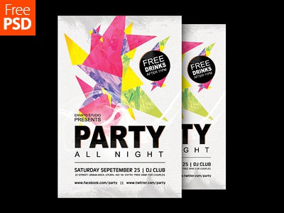 Party Poster Design Free Psd dribbble freepsd freebie psd flyer poster party