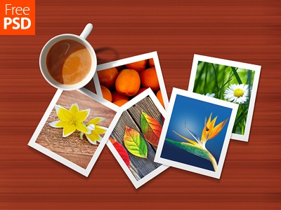 Cup And Photos Mock Up Free Psd