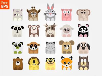 Free Vector Animal Icons animal icon cute freebie lion dog cow pig sheep icon set vector animal icons icons