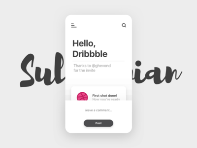 Hello,Dribbble! debuts thanks help ui app invite dribbble