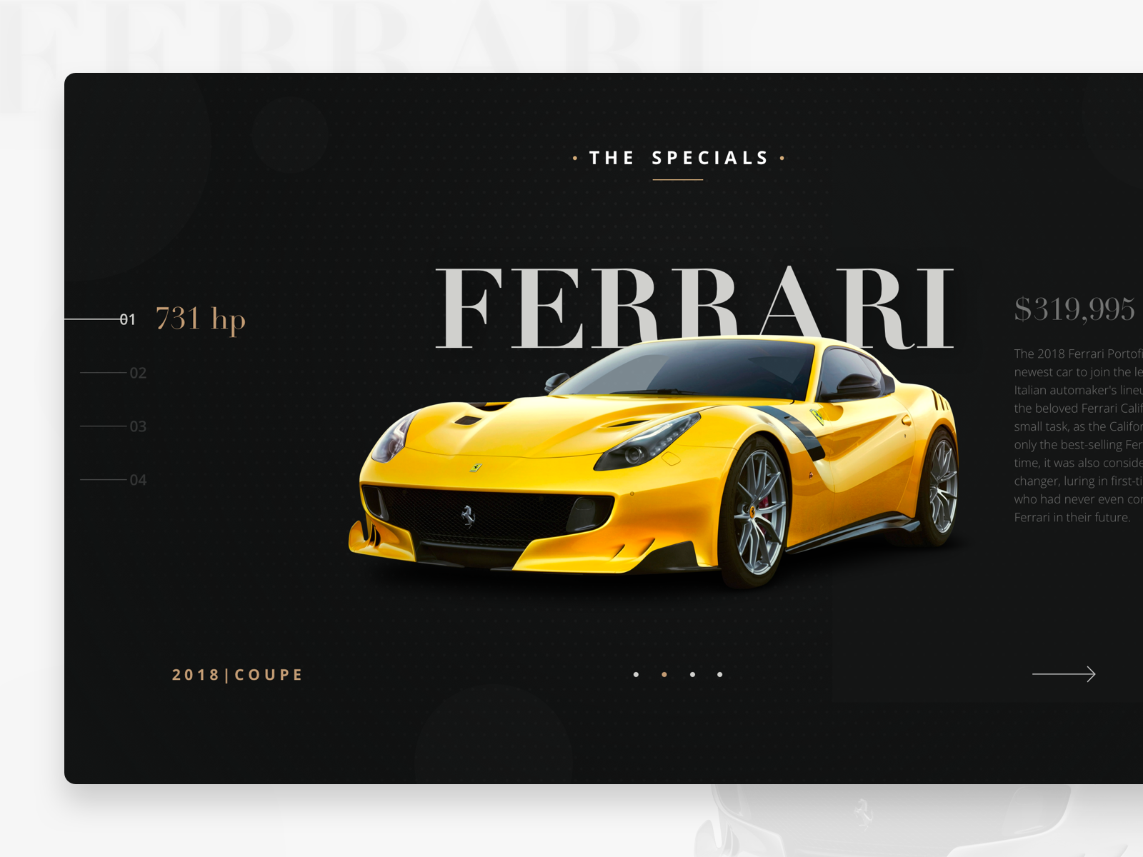 Homepage design for Welten Exotics car rental speed super exotic black auto ferrari simple site flat interface car rent rental car ux design website debuts web app ui