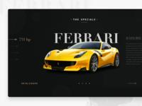 Homepage design for Welten Exotics car rental