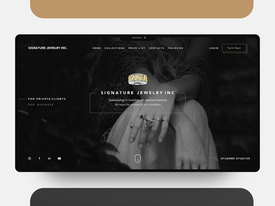 Signature Jewelry Inc. - Website Redesign client plan subscription login product jewelry gold ringo website concept black dark branding ux flat design debuts website app web ui