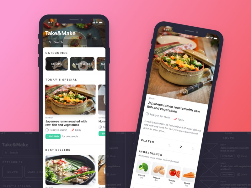 Take&Make App food app interaction logic search ios destination delivery restaurant cafe cuisine interaction wireframe meal food design ingredients ux ui ux ui mobile app