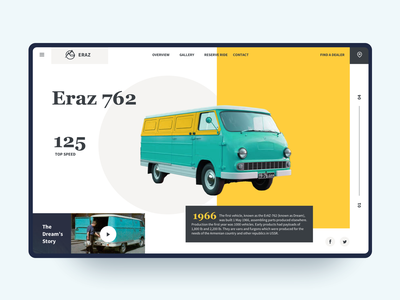 Eraz First Armenian Vehicle - Web Concept history retro old yellow debuts simple interaction flat website design ux ui web van car armenia yerevan zaz eraz762 eraz