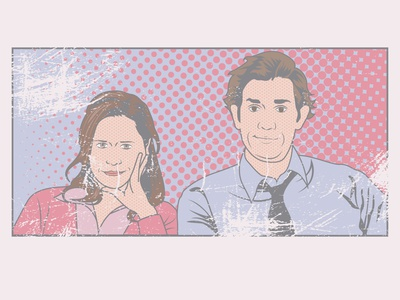 Jim & Pam - The Office - Retro Pop Art Style jenna fishcer john krasinski pam jim theoffice the office vector illustration vector pop art popart oldschool old fashioned illustrator illustration comic art artwork art adobe illustrator