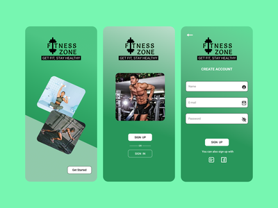 Fitness sign up screen app ui design
