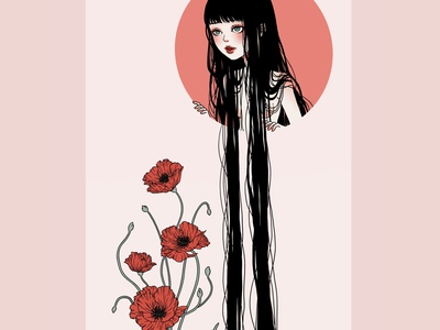 Girl with Poppy drawing illustration procreate illustration procreate mangaart manga fantasy dreamy girl character girl illustration flat illustration digital painting digital digital illustration asian girl asian anime girl anime art anime girl