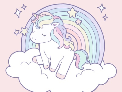 Unicorn 2 vector sticker rainbow cloud unicorn procreate character design character line art linework flat illustration fantasy design illustration drawing digital painting digital illustration digital anime art anime