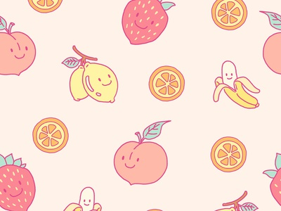 Fruits Pattern graphic kawaii paper cute print packaging fruit character linework flat illustration drawing digital painting digital illustration procreate flat digital illustration seamless background pattern