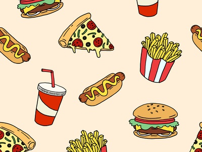 Fast Food Seamless Pattern Design line artwork wallpaper vector retro background artwork food fast food pattern seamless line art procreate linework flat illustration design illustration drawing digital painting digital illustration digital