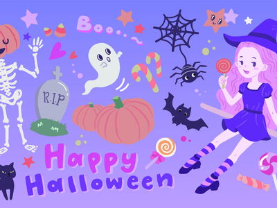 Happy Halloween Vector Illustration spooky happy pumpkin halloween kawaii cute graphic vector illustration sticker vector character design character procreate flat illustration design illustration drawing digital painting digital illustration digital