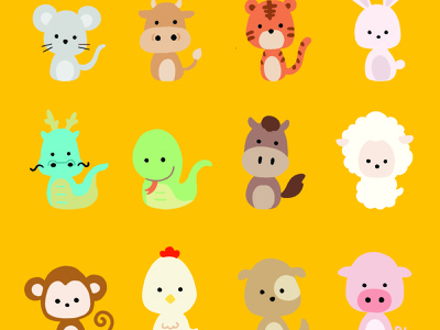 12 Animals of the Chinese Zodiac Sign sticker kid simple sign cute cultural chinese new year chinese zodiac animals vector flat illustration character design procreate illustration drawing digital painting digital illustration digital