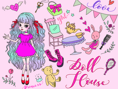 Doll House kawaii cute color painting line vectornator vector doll house doll manga anime art character anime design linework illustration drawing digital painting digital illustration digital