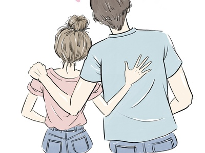 Lovely Couple painting lineart line artwork back art lovely couple graphic hand drawn manga anime design procreate linework illustration drawing digital painting digital illustration digital
