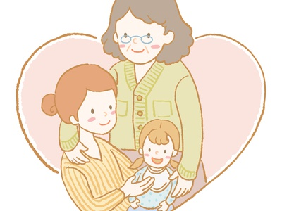 Grandmother, mother and daughter illustration graphic artwork art painting daughter mother grandmother family hand drawn crayon vector character design procreate linework illustration drawing digital painting digital illustration digital