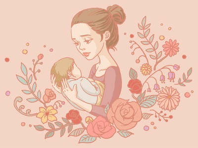 Motherhood artwork art greeting soft floral hand drawn vector maternity mothers day motherhood character flat illustration design procreate linework illustration drawing digital painting digital illustration digital