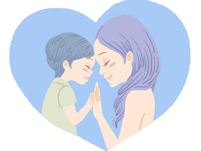 Mother and Son motherhood son mother style crayon artwork art painting soft vector character flat illustration anime design procreate illustration drawing digital painting digital illustration digital