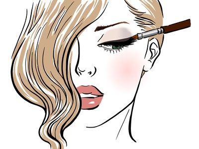 Makeup Girl beauty salon cosmetic hand drawn painting fashion art artist girl makeup beauty character design character flat illustration linework design illustration drawing digital painting digital illustration digital