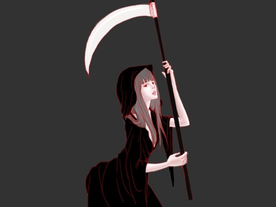 Grim Reaper Girl halloween spooky artwork art painting photoshop grim reaper grimreaper girl manga character anime flat illustration linework design illustration drawing digital painting digital illustration digital
