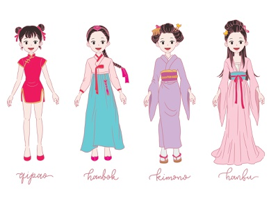 Asian girls in a traditional dresses hanfu kimono hanbok quipao dress traditional girl asian manga anime character procreate flat illustration linework design illustration drawing digital painting digital illustration digital