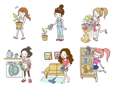Character design of girls doing house chores clipart artwork sticker art color house chore cute manga anime character procreate flat illustration linework design illustration drawing digital painting digital illustration digital