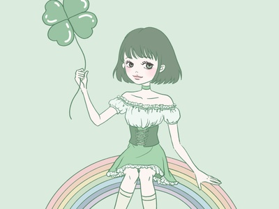 Saint Patricks Day Girl cute painting artwork art green st patricks day girl clover manga anime character procreate flat illustration linework design illustration drawing digital painting digital illustration digital