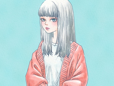 Watercolor style digital illustration hand drawn artwork art lineart portrait painting dtyle watercolor girl manga anime character procreate linework design illustration drawing digital painting digital illustration digital