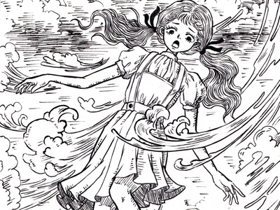 Storm storm line art freehand drawing freehand pen drawing inktober2020 inktober manga anime character linework storybook story ink pen wizard of oz dorothy childrens book illustration drawing