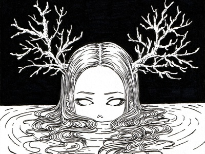 Coral lineart ink drawing pen drawing ink pen freehand drawing freehand style manga anime illustrator illustration monochrome black and white artwork drawingart drawing inktober2020 inktober coral