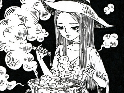 Chef artwork witch anime girl anime style mangaart manga inktober2020 inktober drawing ink pen design linework freehand drawing freehand illustrator illustration drawings drawing chef