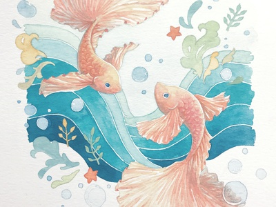 Pisces fantasy dreamy artworks zodiac sign zodiac fish pisces illustrator artist art artwork watercolor art watercolor painting water watercolor painting design character illustration drawing