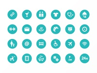 Top10 hotel features icon set